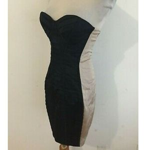 Bebe black and tan strapless bodycon dress